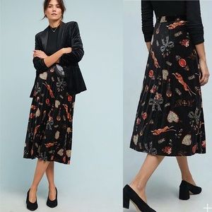 Anthropologie Maeve Montparnasse Velvet Midi Skirt